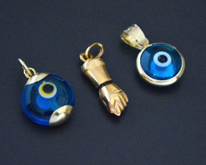 Turkish Evil Eye 14K Gold Pendant and 18K XS Figa Charm