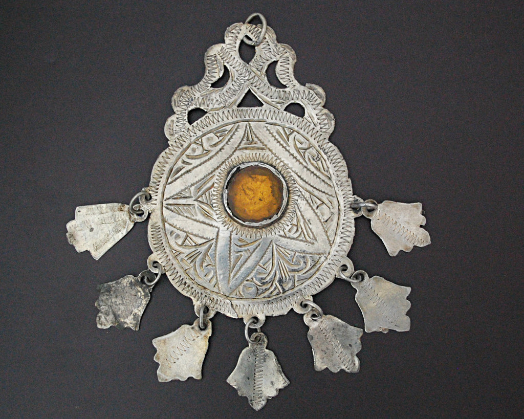 Berber Head Ornament with Glass and Dangles - Pendant
