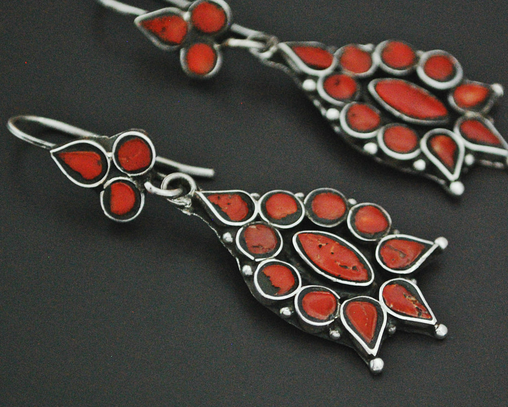 Wonderful Ethnic Coral Earrings from India