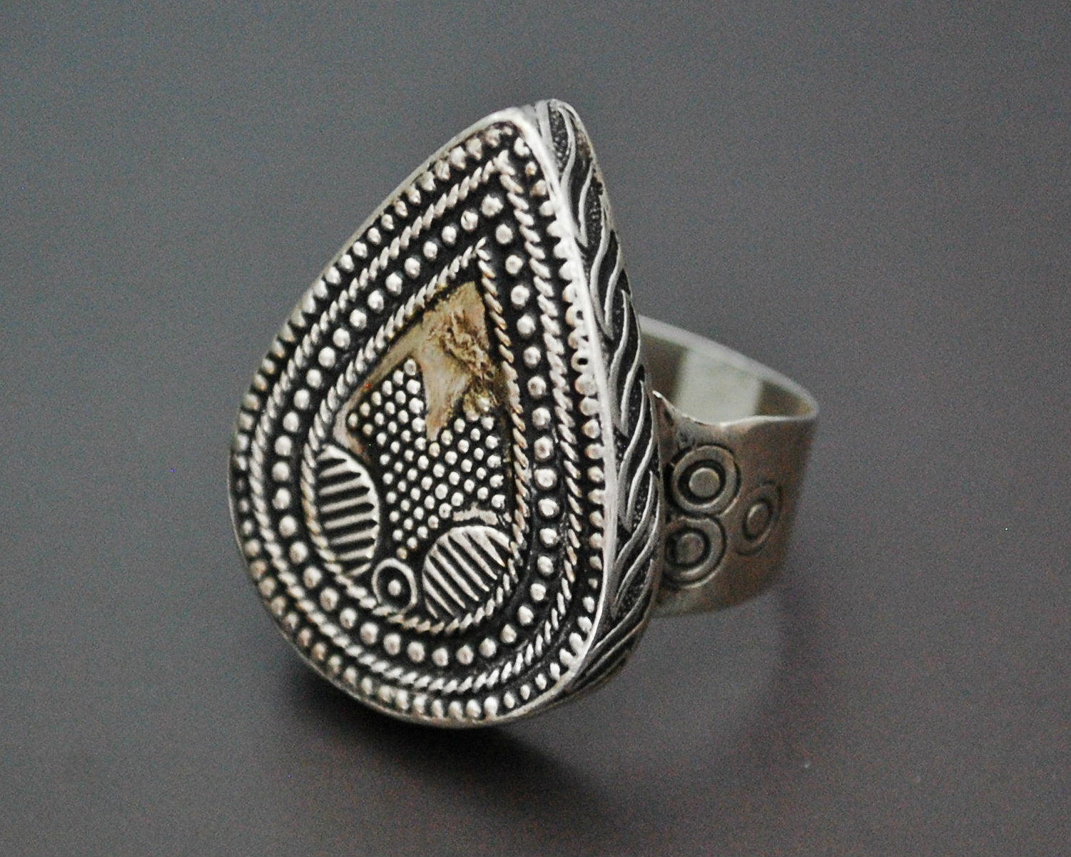 Kazakh Silver Gilded Ring - Size 7.75 / 8