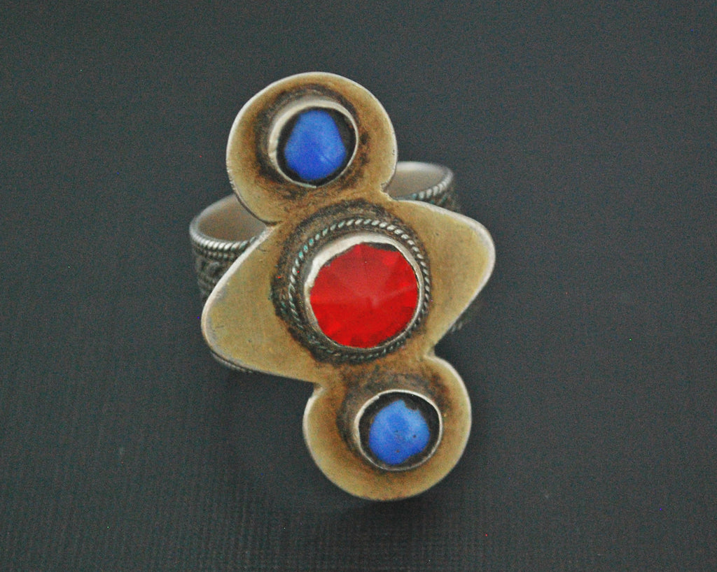 Turkmen Silver Gilded Ring with Glass Stones - Size 9