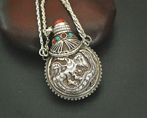 Nepali Repoussee Silver Parfum Bottle on Chain