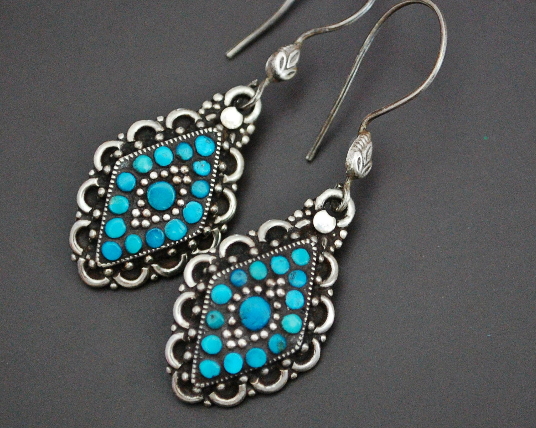 Ethnic Turquoise Earrings from India