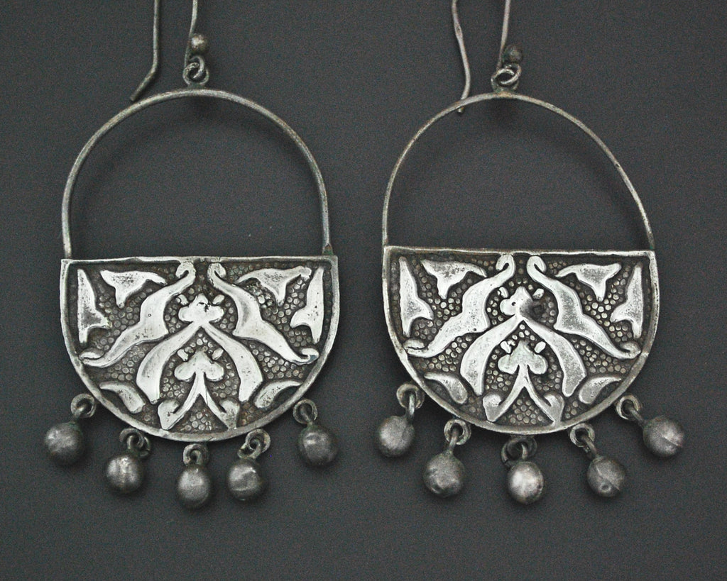 Large Egyptian Silver Earrings with Bells