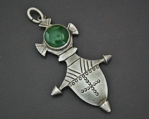 Tuareg Silver Cross with Green Stone