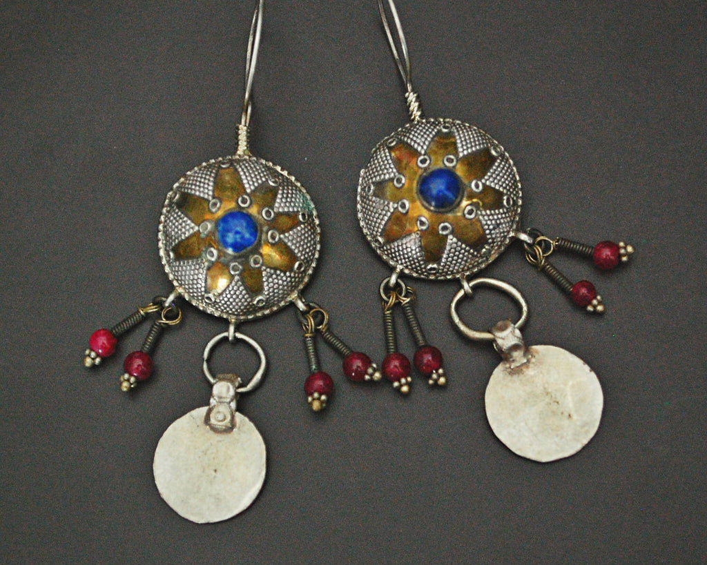 Kazakh Style Coin Earrings with Lapis Lazuli