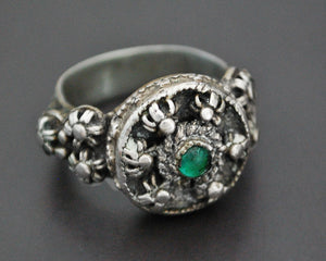Antique Yemeni Ring with Green Glass - Size 9.5
