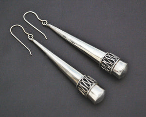 Silver Cone Dangle Earrings