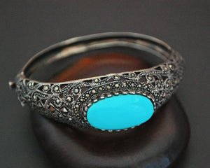 Gorgeous Turquoise and Marcasite Hinged Bracelet