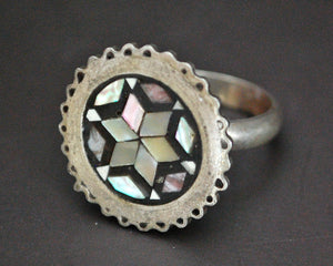 Mother of Pearl Inlay Ring from Egypt - Size 6
