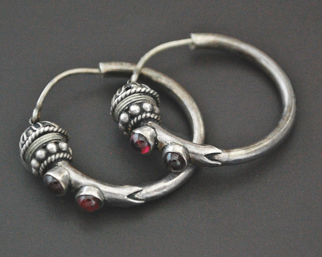 Ethnic Bali Hoop Earrings with Garnet