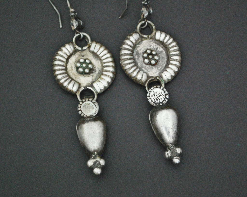 Rajasthani Flowery Silver Earrings with Dangles