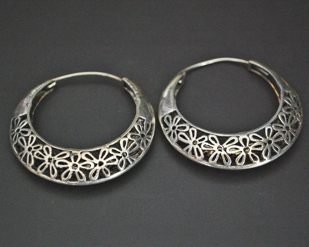 Ethnic Hoop Earrings with Flower Design
