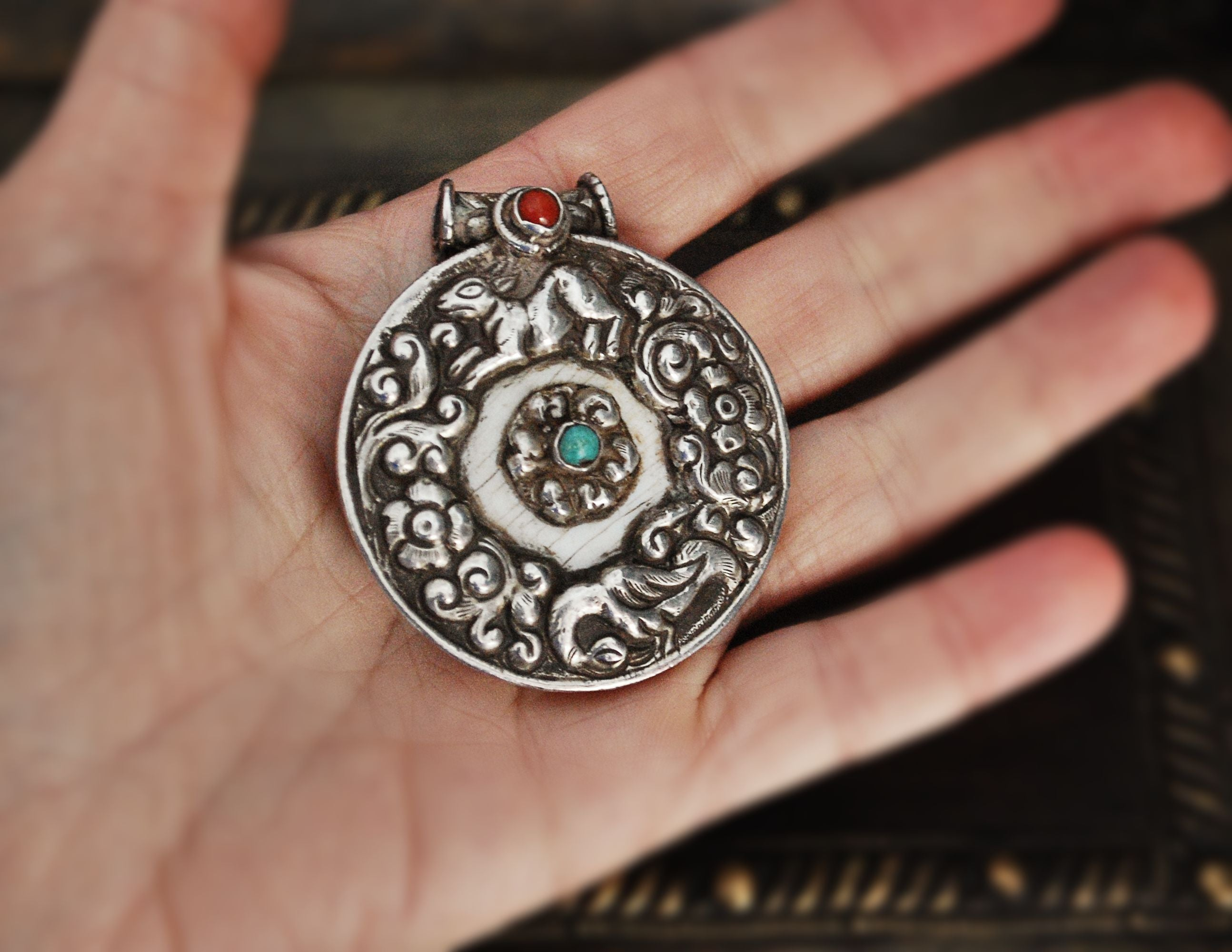 Nepali Shell Repoussee Silver Amulet with Coral and Turquoise