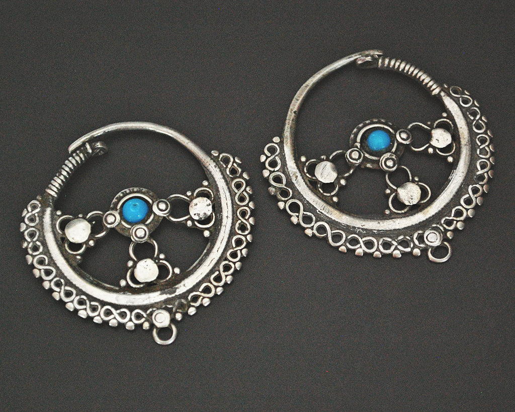 Afghani Hoop Earrings with Turquoise