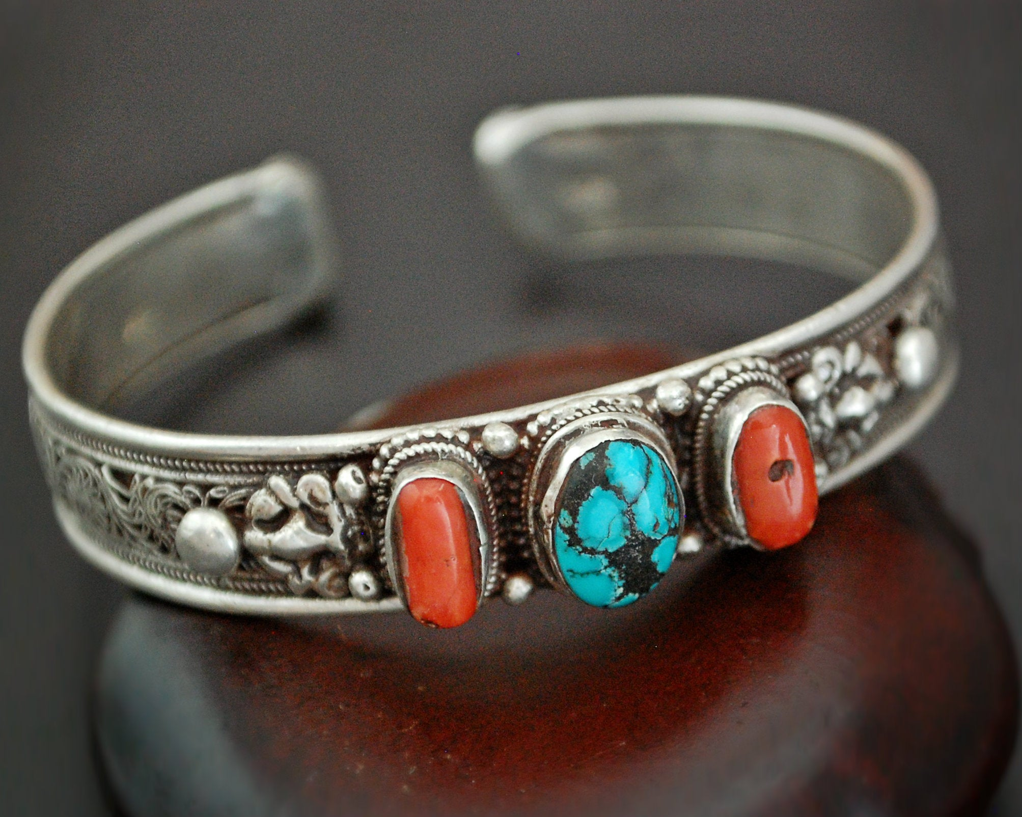 Nepali Turquoise Coral Cuff Bracelet with Filigree Work