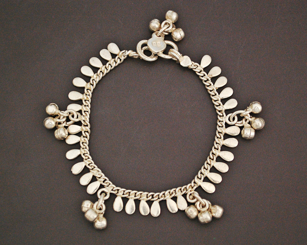 Rajasthani Silver Bracelet with Bells - SMALL