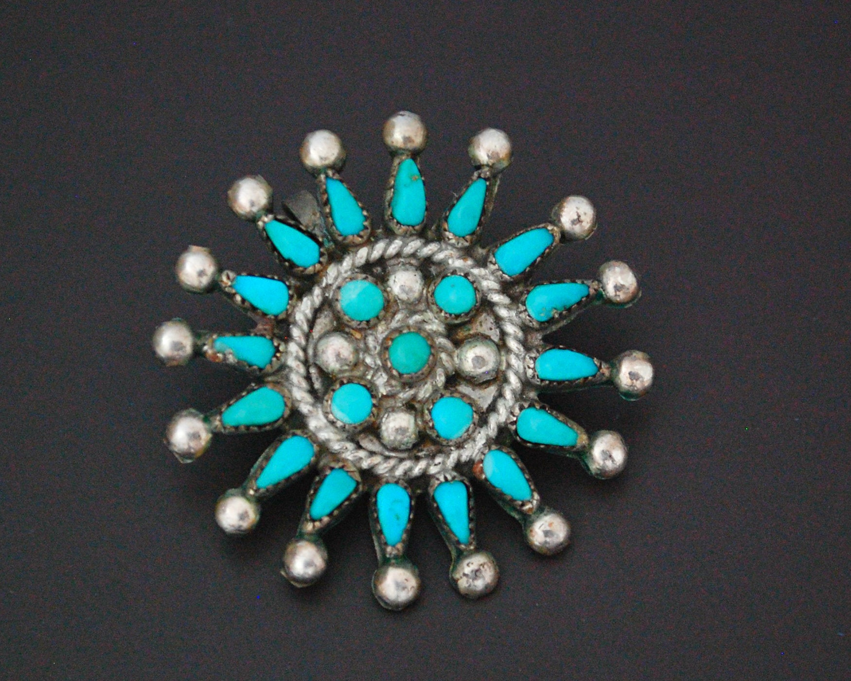 Zuni Petit Point Turquoise Pendant Brooch