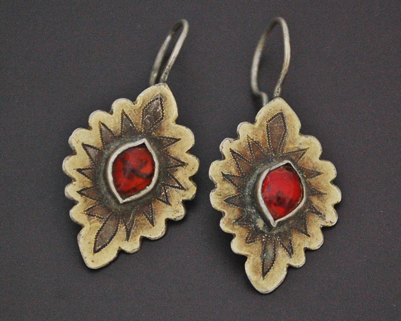 Vintage Turkmen Earrings with Glass