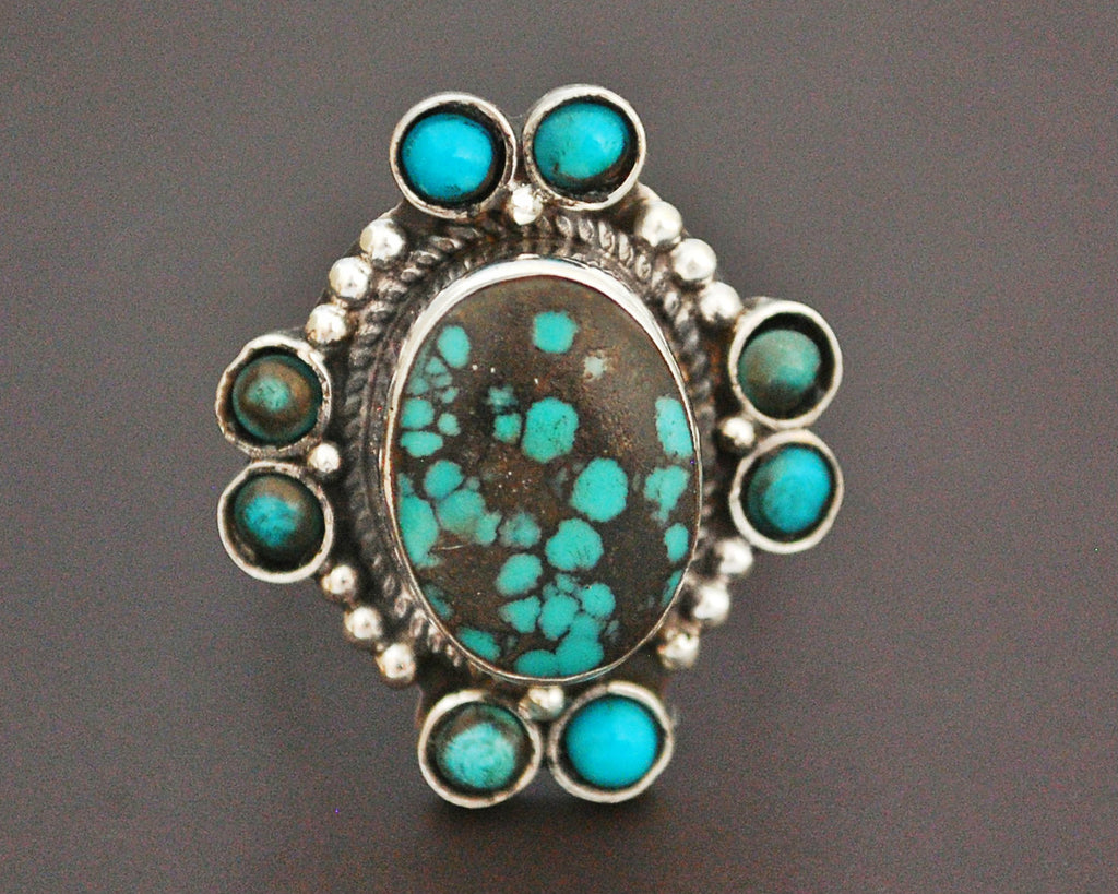 Ethnic Turquoise Ring from India - Size 9.5