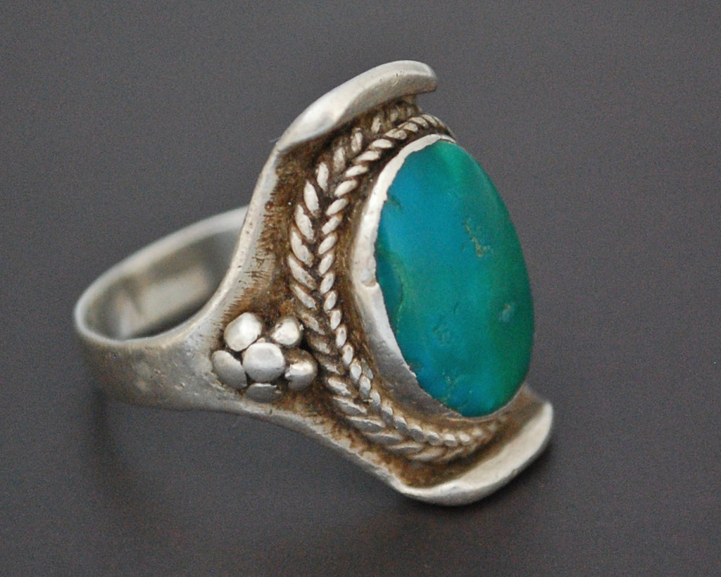 Nepali Turquoise Saddle Ring - Size 7.5