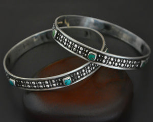 Ethnic Turquoise Bangle Bracelet - PAIR