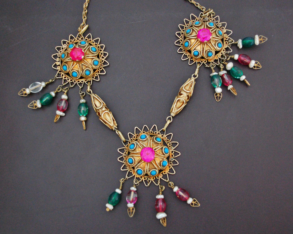 Gilded Uzbek Necklace with Stones