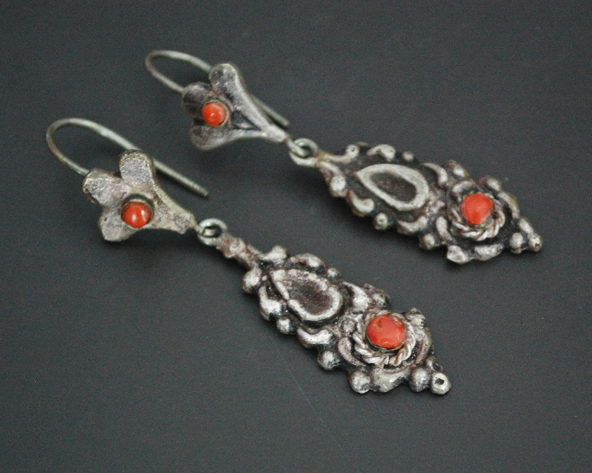 Old Berber Coral Dangle Earrings