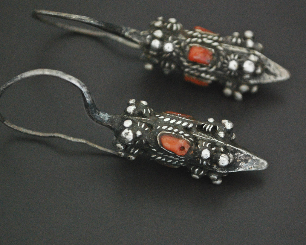 Antique Kirghiz Coral Earrings