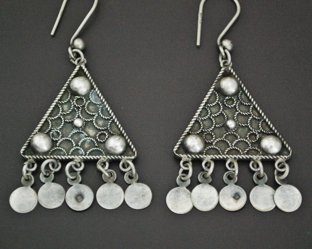 Ethnic Silver Dangle Earrings from Egypt