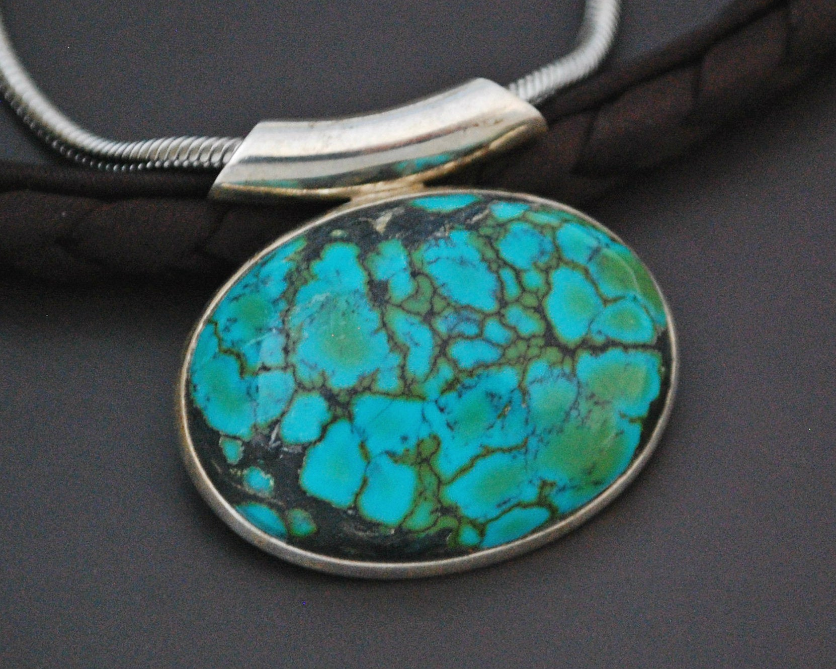 Turquoise Pendant on Sterling Silver Snake Chain
