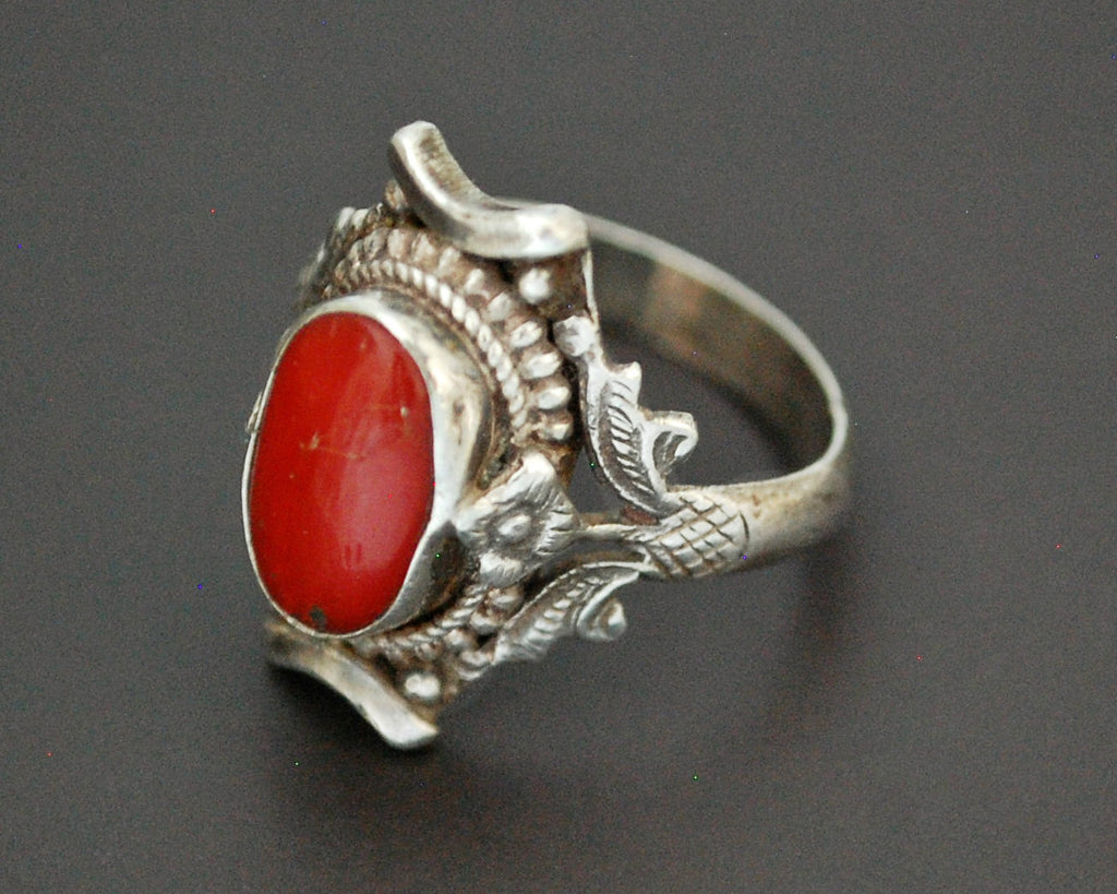 Vintage Nepali Coral Saddle Ring - Size 8