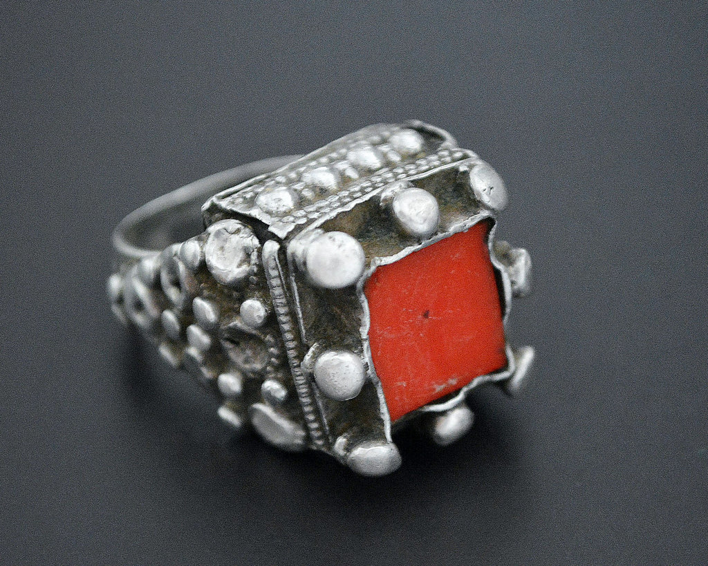Pashtun Silver Ring with Red Glass - Size 7.5