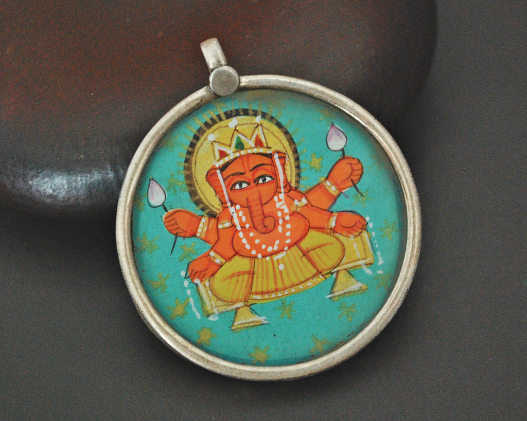 Indian Ganesha Painting Pendant Amulet