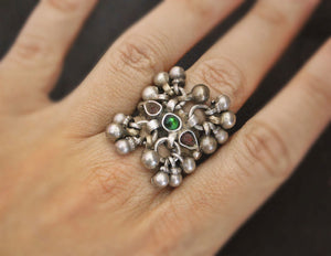 Old Rajasthani Silver Ring with Bells - Size 6.25