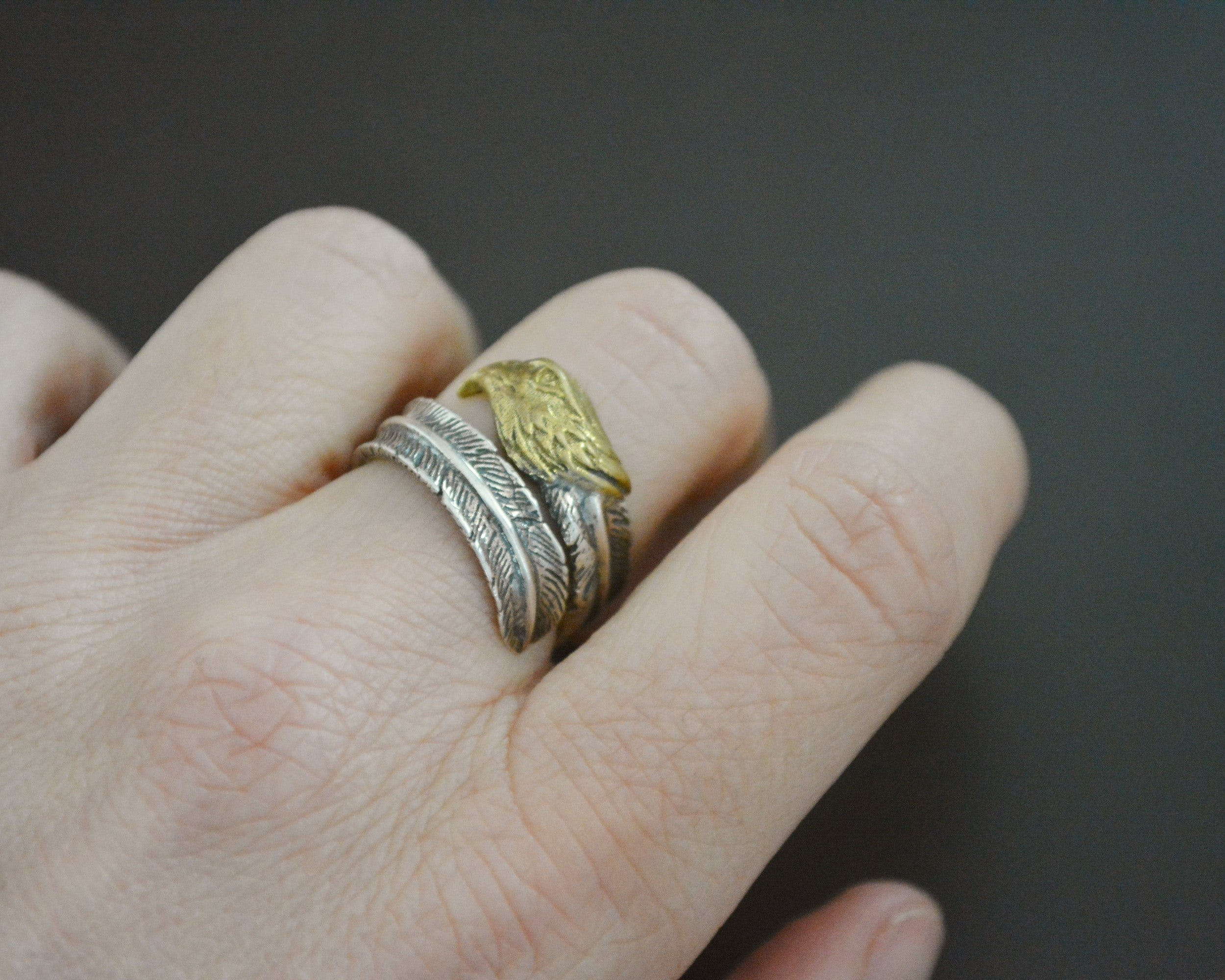 Eagle Feather Wrap Ring - Size 6.5 Adjustable