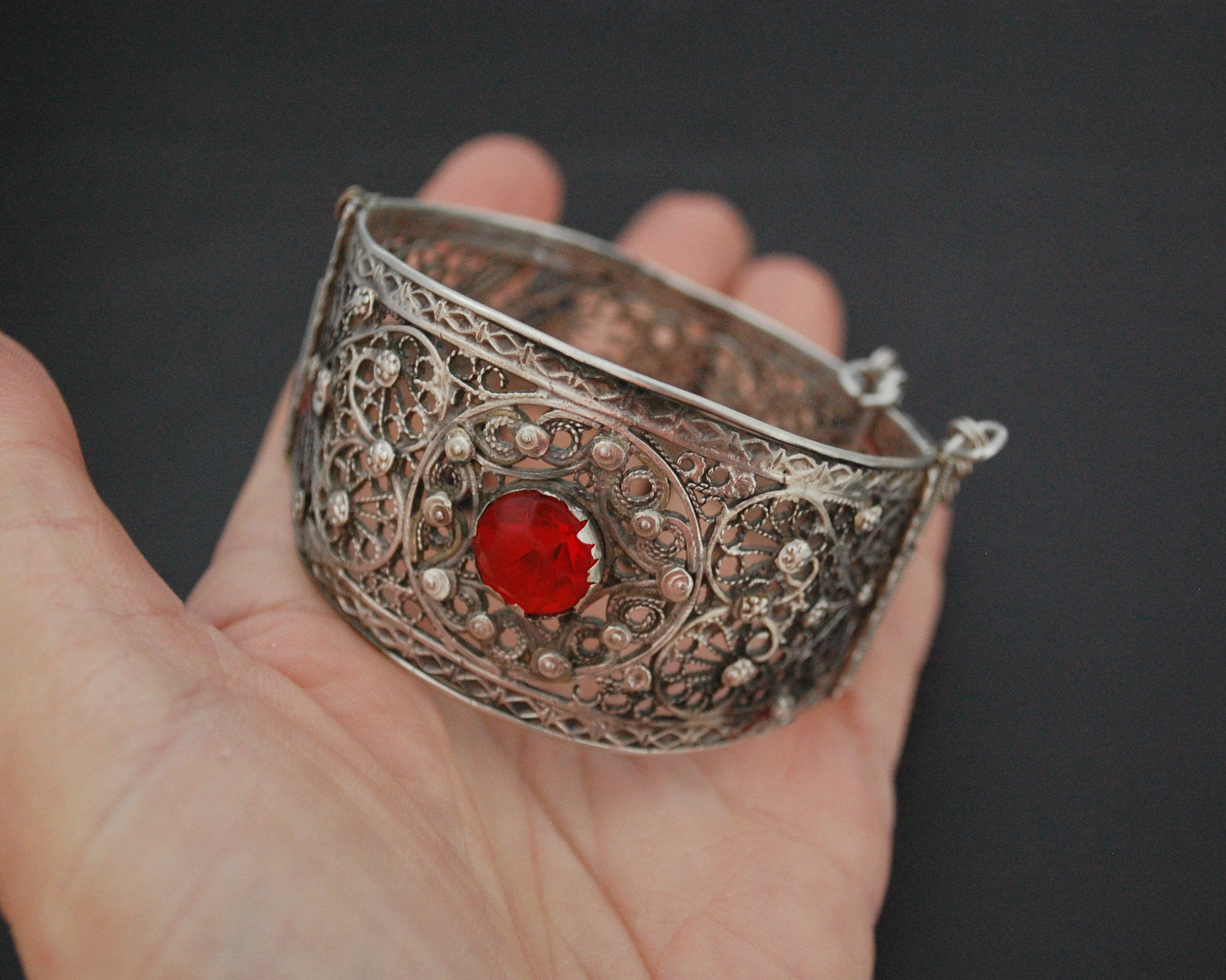 Afghani Filigree Bracelet with Red Glass