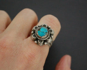 Antique Afghani Turquoise Ring - Size 6.75