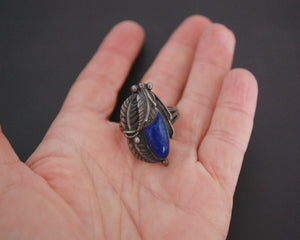 Native American Lapis Lazuli Feather Ring - Size 9.5