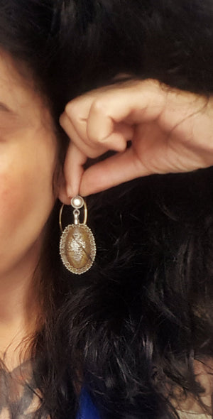 Kazakh Style Silver Gilded Dangle Earrings