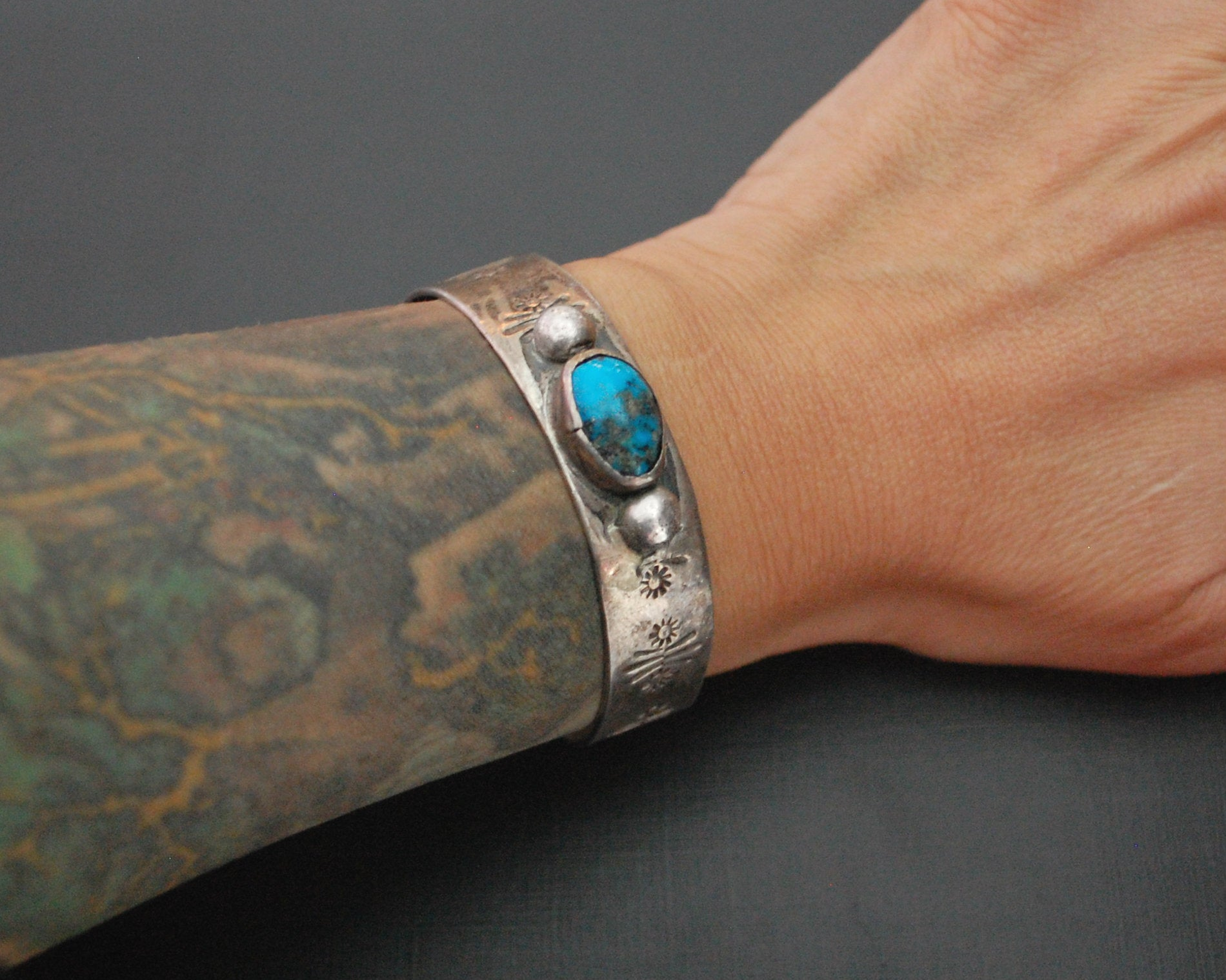 Old Navajo Stamped Turquoise Cuff Bracelet - SMALL