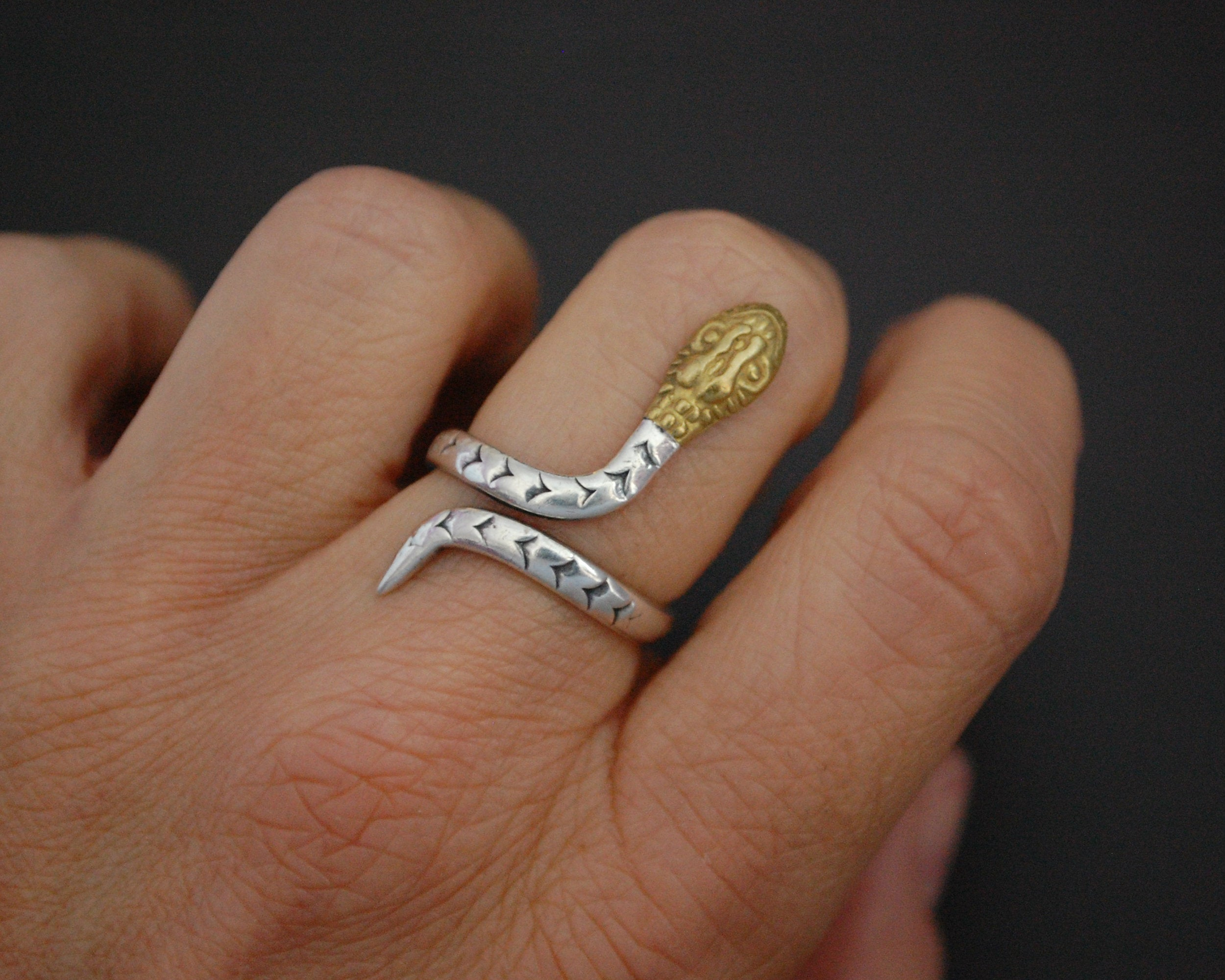 Mexican Snake Ring with Brass Head - Size 6