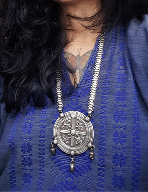 Huge Rajasthani Silver Necklace with Amulet