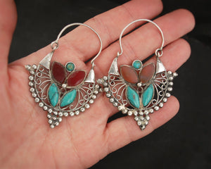 Big Afghani Hoop Earrings with Carnelian and Turquoise
