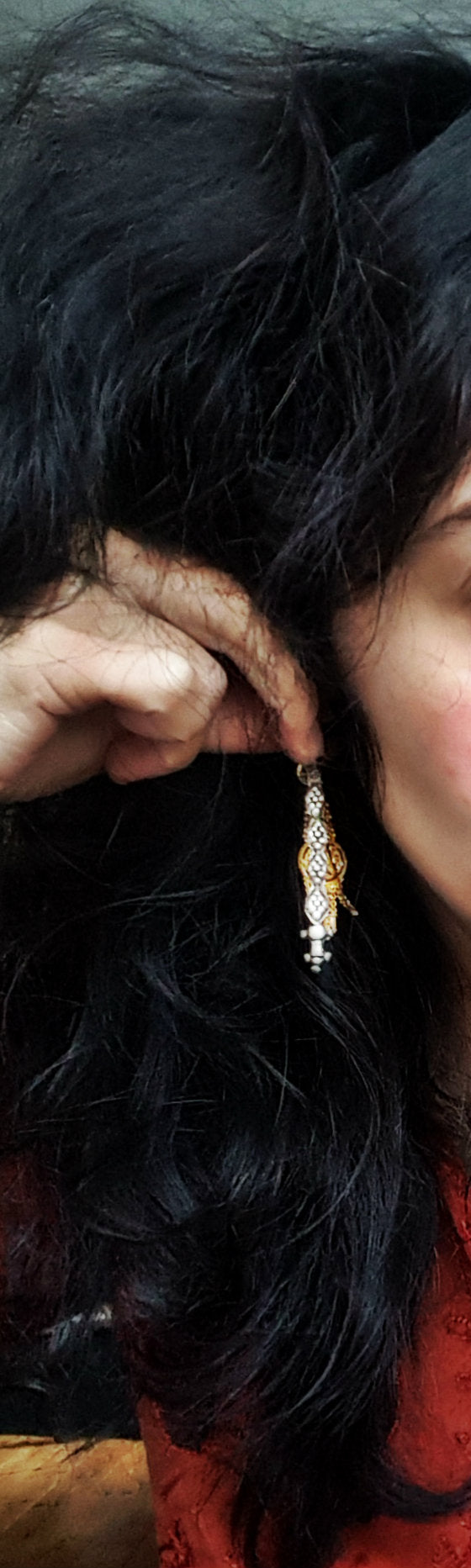 Antique Long Afghani Silver Earrings