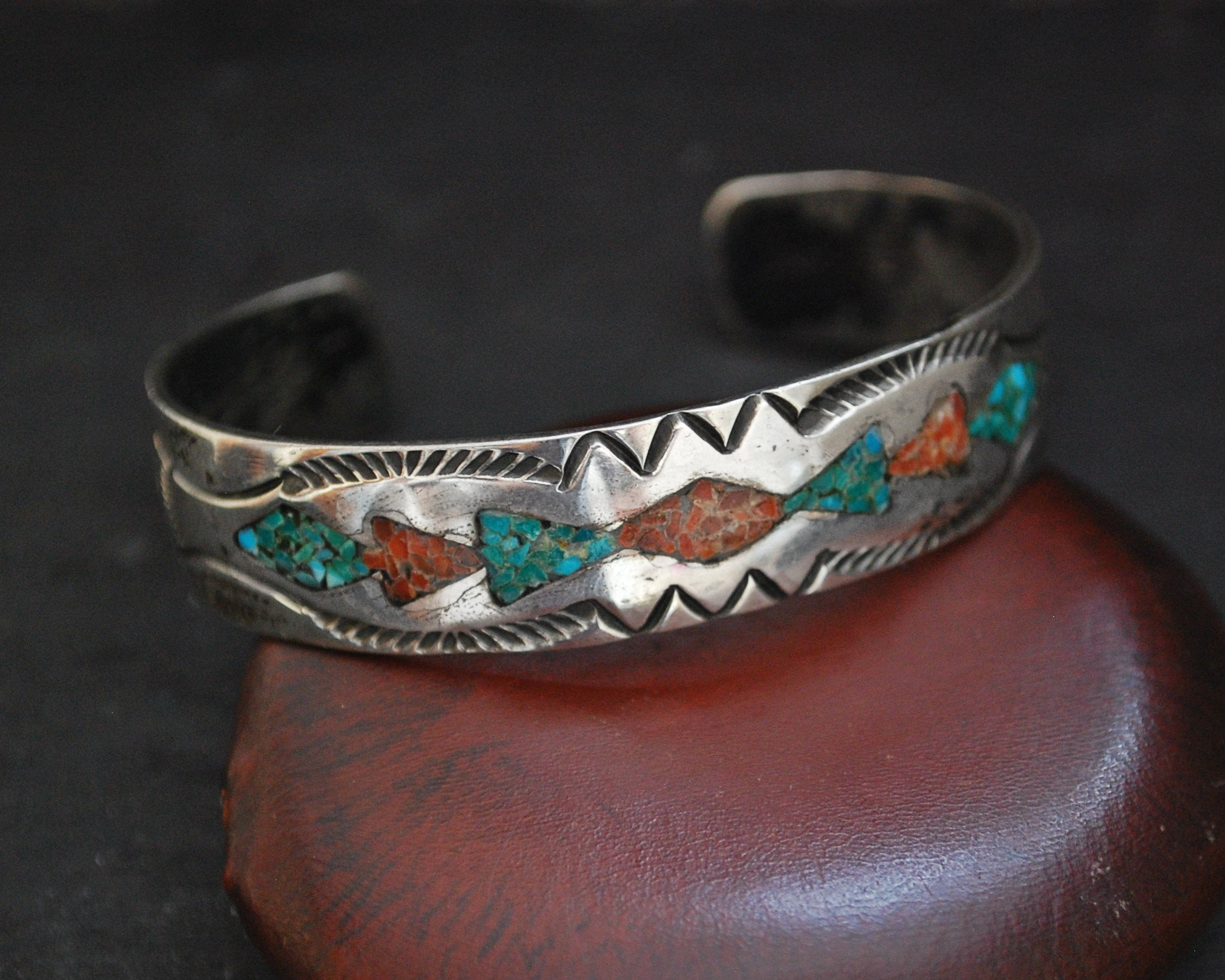 Navajo Turquoise Coral Inlay Cuff Bracelet - For Small Wrist