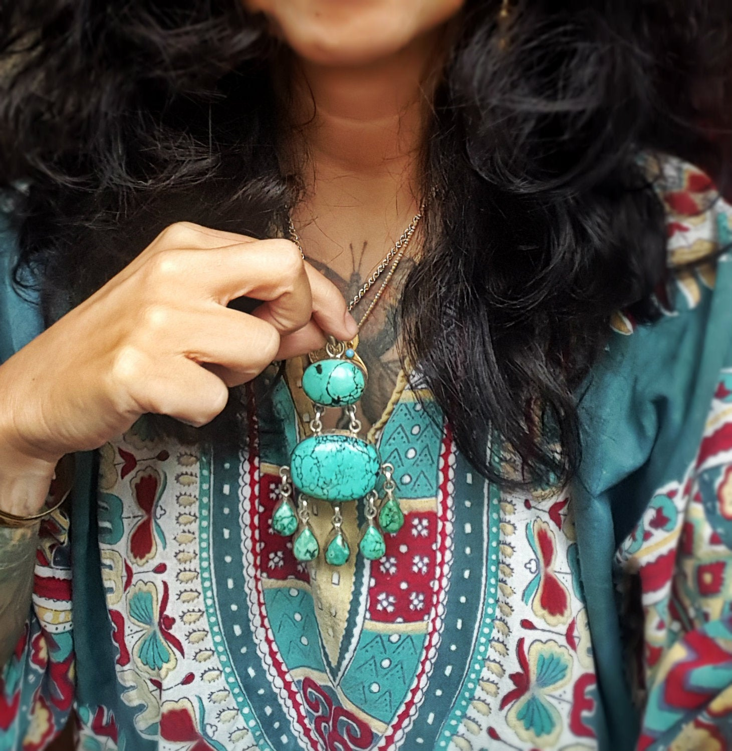 Huge Turquoise Pendant from India