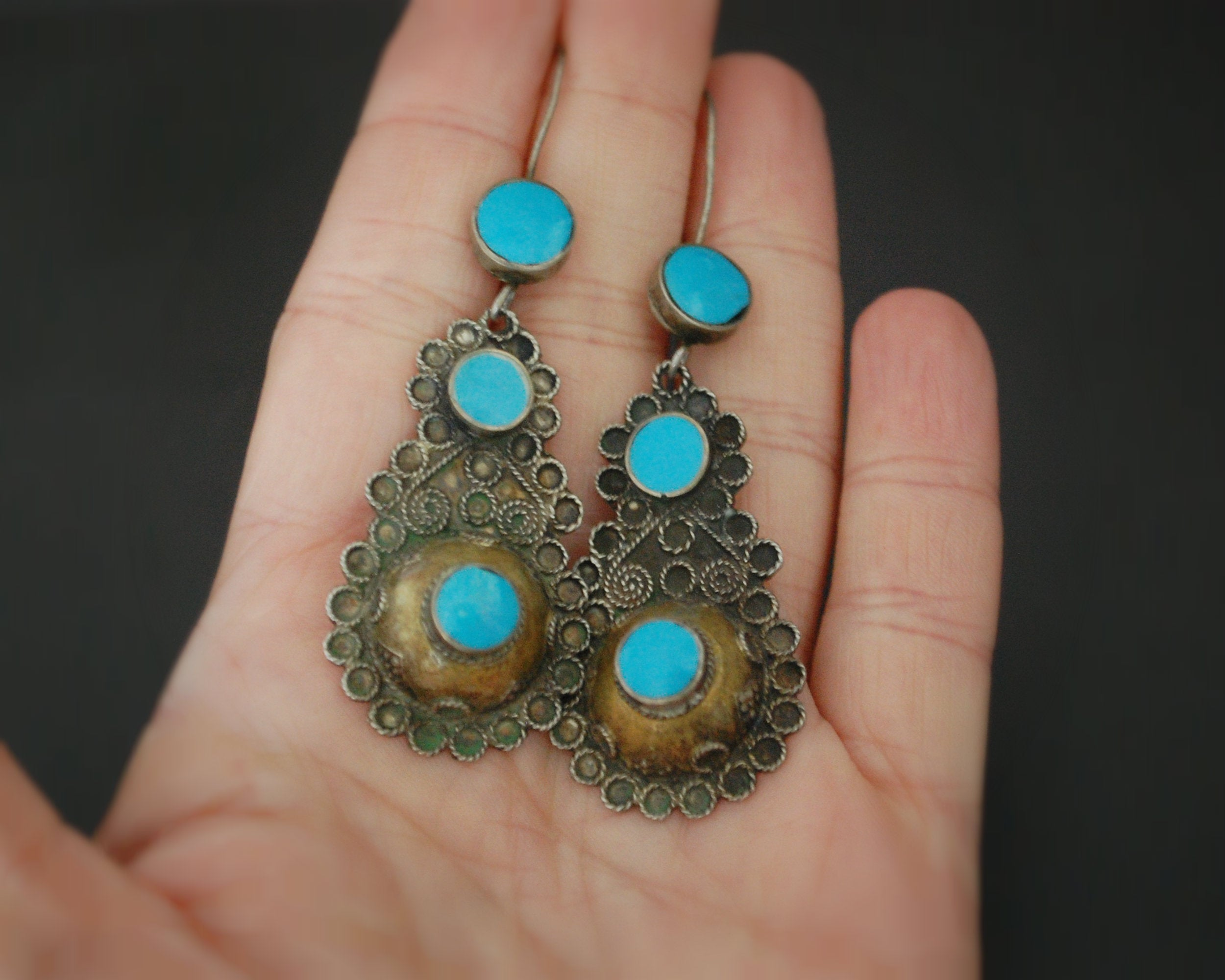 Afghani Silver Gilded Earrings with Turquoise