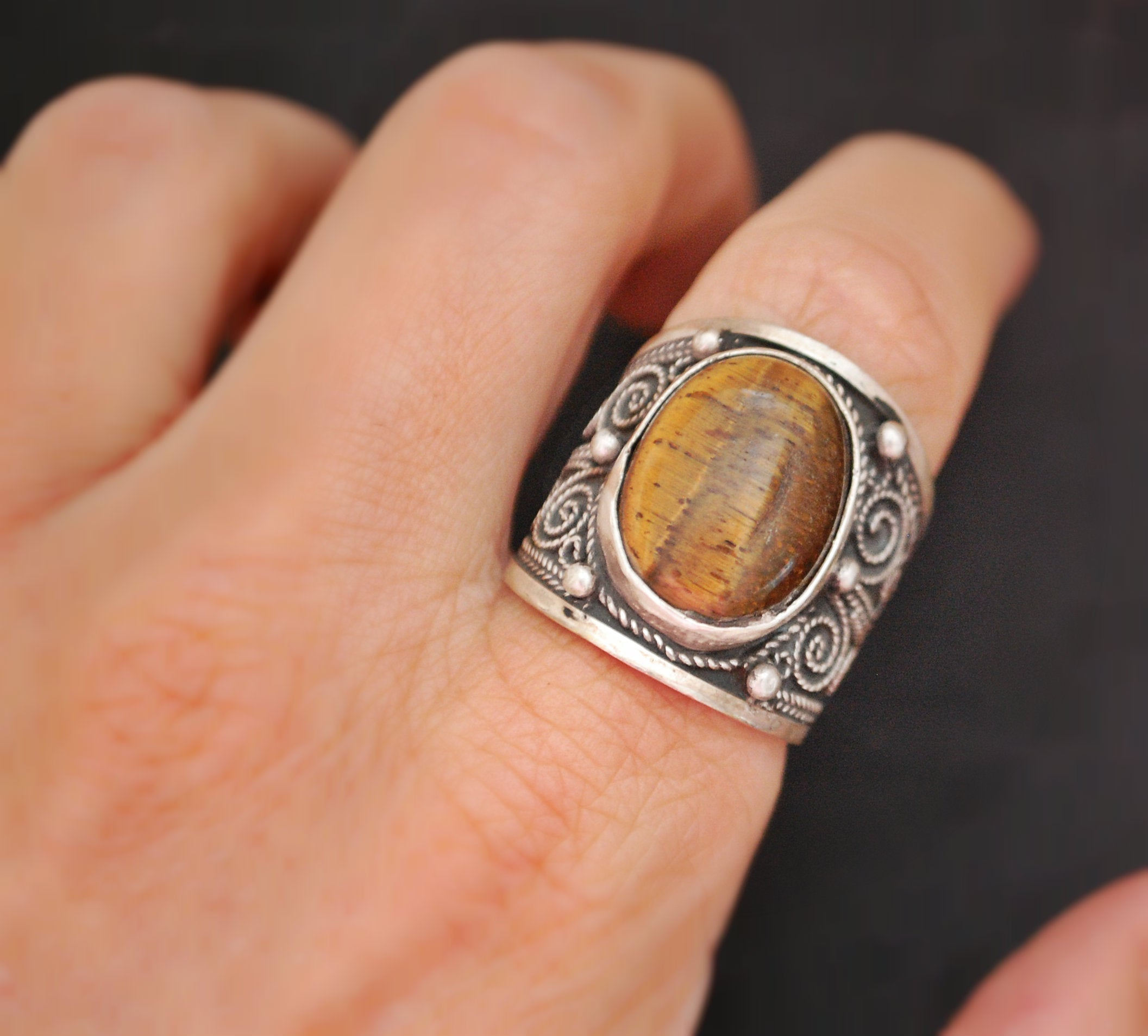 Ethnic Tiger Eye Ring from India - Size 8