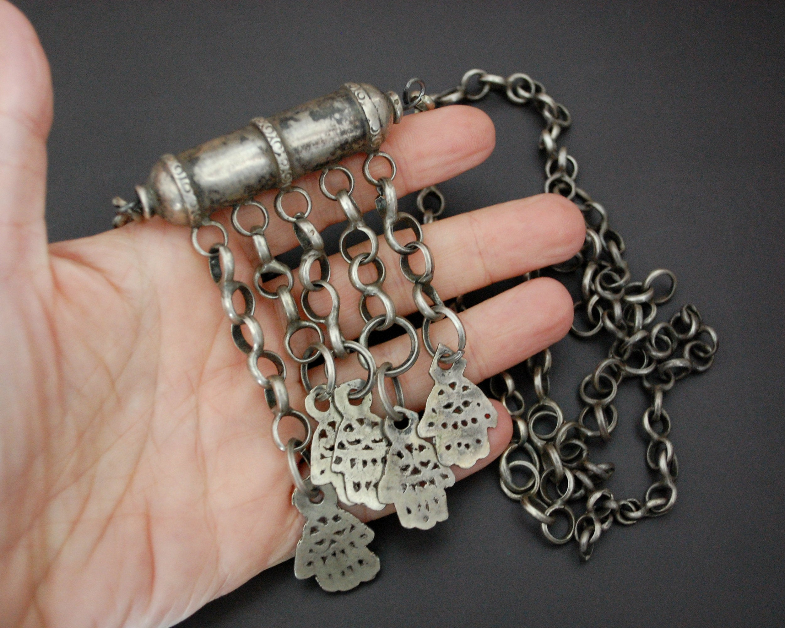 Old Tunisian Hamsa Pendant Necklace